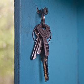 Keys hanging on a hook