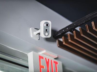 Security device on exit door